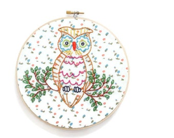 Owl Embroidery Hoop/7 Inch Embroidery/Woodland Animal Embroidery