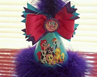 My little pony Party hat with removable hair bow party supplies