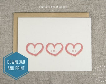 Printable I Love You Card, Love Card, Valentine's Day Card