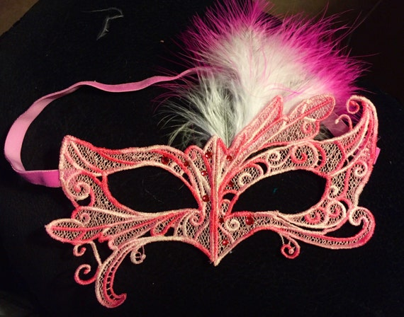 Bubble Gum Drops mask! Lace feather crystal mask masquerade ball dance prom holiday