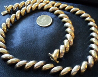 """NEW LISTING 10mm Gold Accent San Marco Chain 52.4g Sterling Silver Necklace (17.75"""") (1746)"""