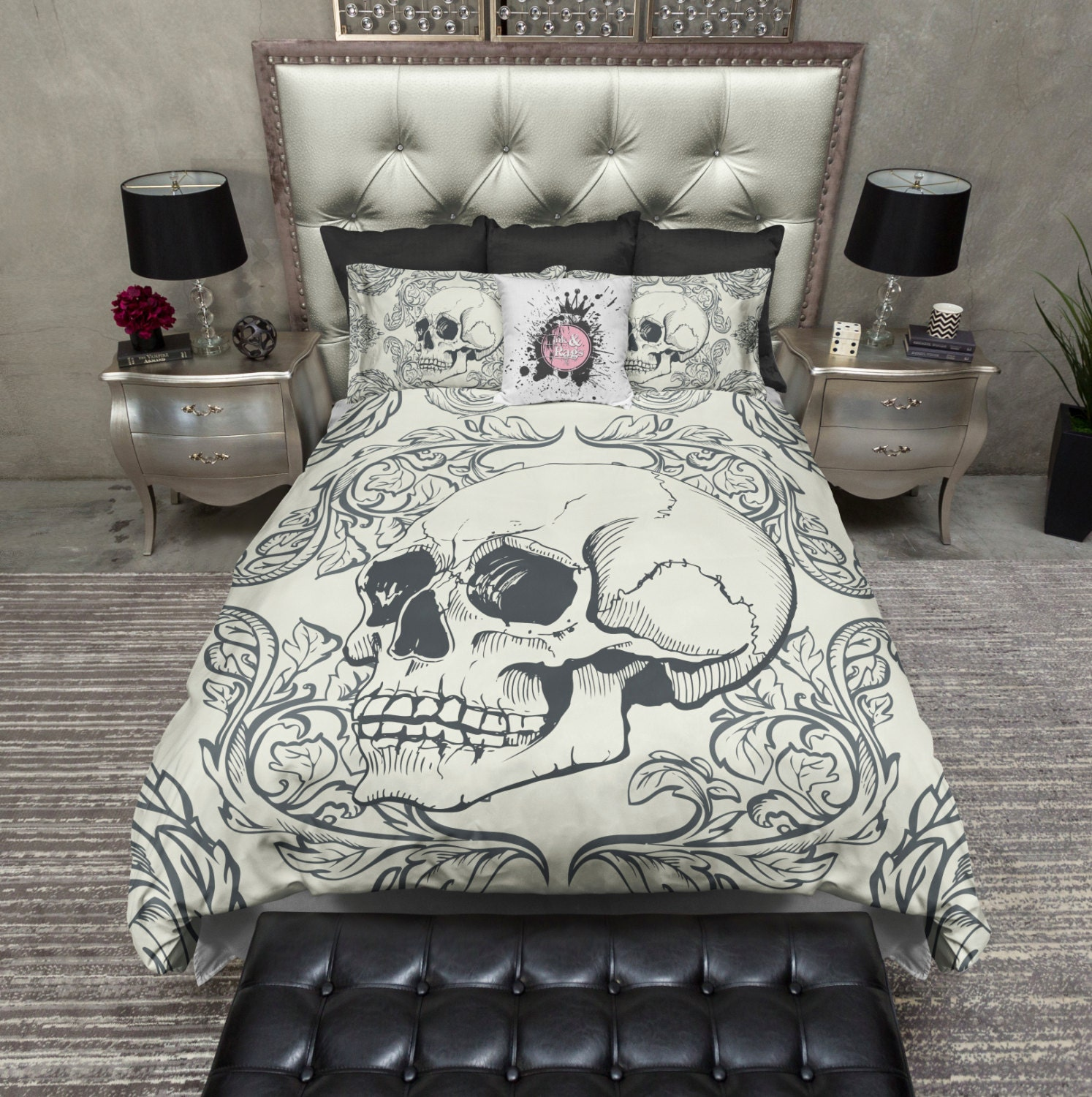 Featherweight Skull Bedding Swag Skull Design on by InkandRags