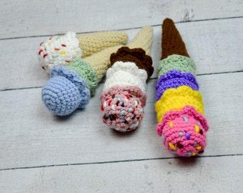 new crochet ice cream cone,many flavors ice cream cone,crochet food,crochet sweets ,ice cream,kids pretend food,crochet pretend ice cream.