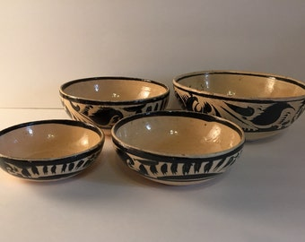 Vintage Earthenware Bowls, Nesting, Set of 4, Antique Mexican Bowls, Clay, Glazed Mixing Bowls