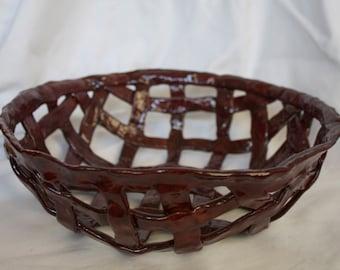 Large Basket Weave Bowl in Cordovan (deep wine color)