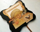 Victorian Child Wooden Sign Pick Copper Winged Heart Self-controlled Toddler New Baby Nursery Decor