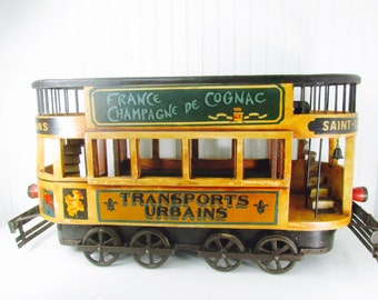 Vintage toy, trolley car,train,French champagne, street car, tram,restaurant decor,model, New Orleans, vintage decor, display piece,sign,
