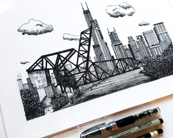 """Chicago Art, Architectural Pen and Ink Drawing of St. Charles Air Line Bridge, Skyline, Chicago River, 8""""x12"""" Giclee Print"""