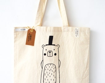 Cotton tote bag with big bear