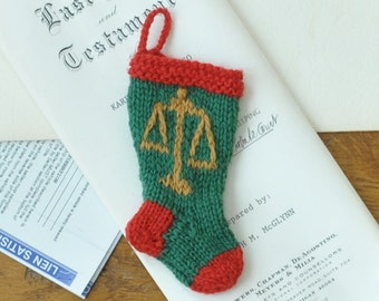 Lawyer Scales of Justice Hand-Knit Christmas Stocking Ornament   Law Office Gift