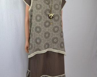 Cotton beige dress boheme style boho chic