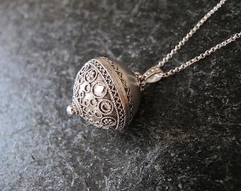 Silver necklace, Filigree necklace,Jewelry, Necklaces,  Filigree Silver necklace,Silver ball ,Israeli jewelry,Yemenite jewelry