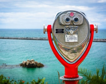 Coin operated telescope in Corona del Mar, California. | Photo Print, Stretched Canvas, or Metal Print.