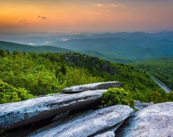 Sunrise from Rough Ridge, near the Blue Ridge Parkway in North Carolina. | Photo Print, Stretched Canvas, or Metal Print.