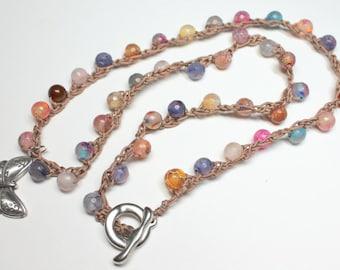 Agate Crochet Necklace, Rainbow Agate Stones, Crochet Gemstone Bracelet, Rainbow Stone Necklace