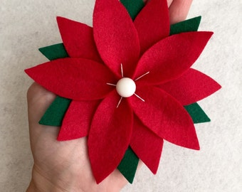 Poinsettia Hair Clip - Red and Green Felt with White Button Center