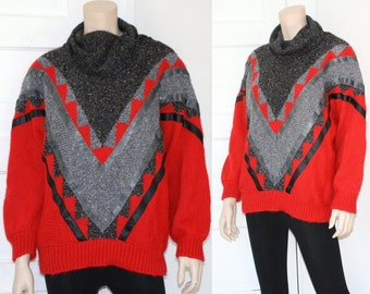 80s tribal color block batwing sweater - large, xl, or xxl