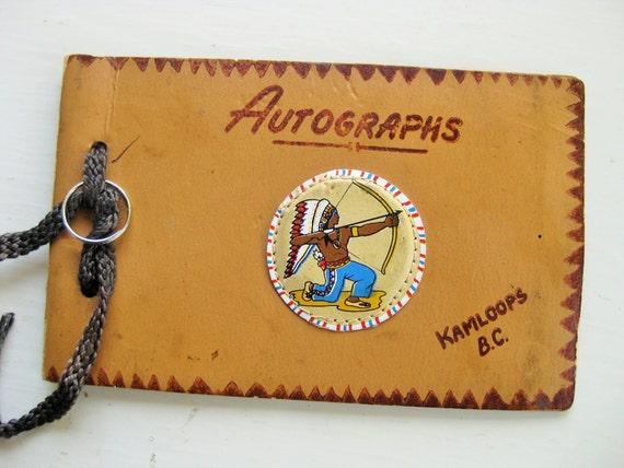 Vintage autograph book. Kamloops B.C. Canadian souvenirs. Vintage souvenir. British Columbia
