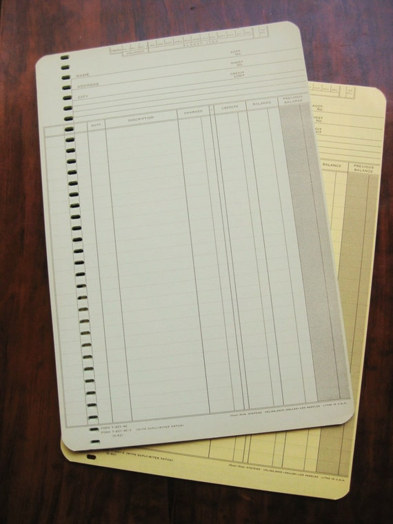 Vintage Post-Rite sales / accounting / bookkeeping sheets.  30 (15 blue 15 yellow) 2-sides. Form T=401-NC.