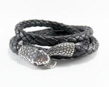 Ouroboros Leather Snake Bracelet, Black Snake Wrap Bracelet, Unisex Black Leather Bracelet, Braided Leather Serpent Bracelet, Black Serpent
