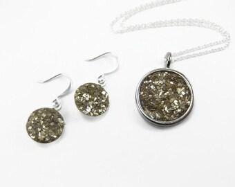 Druzy Jewelry Set - Druzy Necklace - Druzy Earrings - Gold Druzy Jewelry - Gold Druzy Pendant - Gold Drop Earrings - Gold Drusy Jewelry
