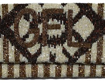 Custom Monogram Beaded Striped Clutch Handbag Purse Evening Bag