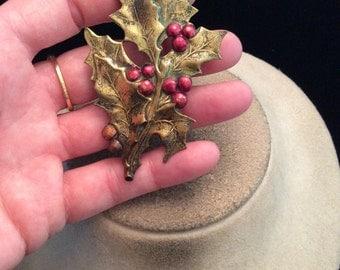 Vintage Large Goldtone Red Enameled Berries Leaf Pin