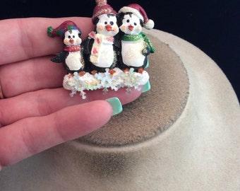 Vintage Triple Penguin Christmas Pin