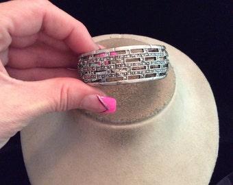 Vintage Chunky Rhinestone Cuff Bracelet