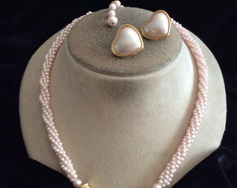 Vintage Signed Monet Pink Faux Pearl Heart Pendant Necklace & Matching Clip Earrings Set