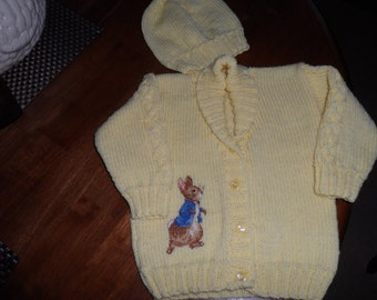 6-12 months jacket and hat with peter rabbit cross stitched on by hand