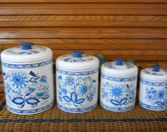 Vintage 1950's-60's Ransburg Indianapolis U.S.A. Blue Onion Tin Nesting Canisters ~ Vintage Set of Four Flower-Sugar-Coffee andTea Storage