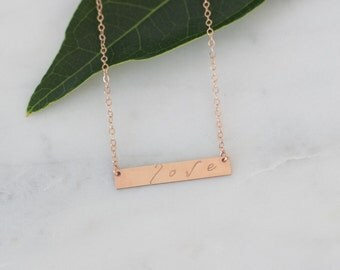 Valentine's Love Necklace, Rose Gold Horizontal Bar Love Necklace, Rose Gold Love Necklace, Bar Necklace Rose Gold Filled, Gift for Her