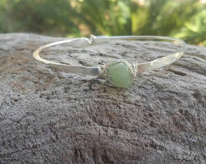 Gemstone Bracelet, Stacking Bangle, Sterling Silver, or, 16K Gold Fill, Hammered bangle, Gold Bangle, Silver Bangle, tiny bracelet