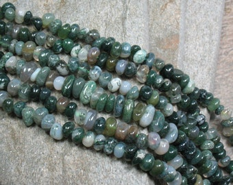 "Moss Agate Nugget Beads - 16"" Strand - Item B0576"