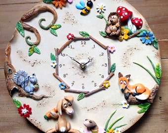 Wall Clock Custom Made Ceramic -  Woodland Design
