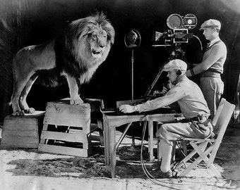 MGM Lion, Leo the Lion, 1920's, Roaring, B&W Print- Photograph Photo Giclee Print
