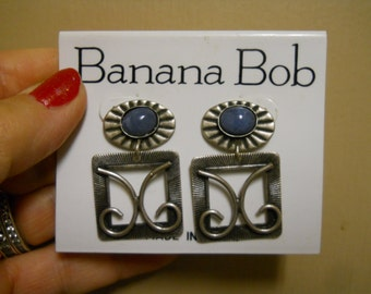 banana bob pierced silver ox earrings with denim colored stones .99 cent shipping!!