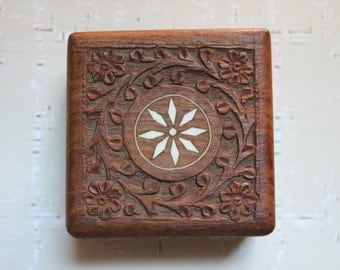 Small Rosewood Carved Box c1970s