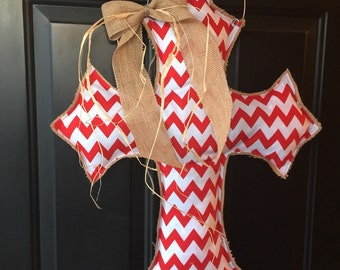 Red Chevron Cross Burlap Door Hanger