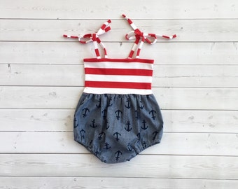 Bubble Romper, Sunsuit, Baby Bubble Romper, Toddler Bubble Romper, Baby Sunsuit, Toddler Sunsuit, Girls Romper in Nautical Anchor Chambray