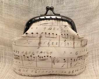 Music notes Coin purse with kiss clasp