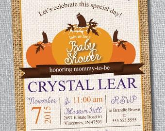 Pumpkin Baby Shower Invitation - Custom Colors - Digital File Only