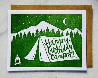 Happy Birthday Camper letterpress greeting card