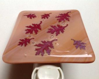 Fall, Leaf, Fused Glass, Fall, Night Light, Peak Foliage, Colors of Fall, Autumn, Brown, Housewarming Gift