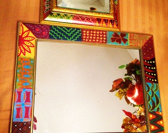 """Hand Painted Bohemian Two Gold Mirrors  For Home or Office 10.5""""Wx12.5Hx.5""""D/7.5""""Wx7.5""""Hx1""""D M0023"""
