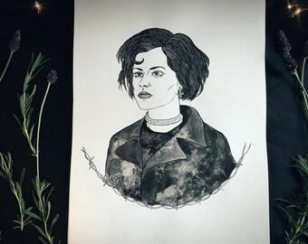"Nancy - The Craft original acrylic ink painting 16.5"" x 12"""