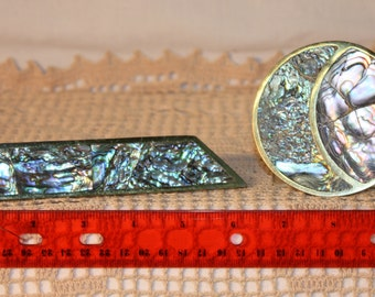 """2 abalone and brass drawer pulls made in Mexico, 6.75"""" and 3.25"""" wide"""