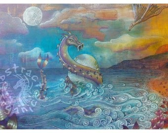 Day of the Hatching fine art print, art print wall art, mythical water dragons art, dragon seascape, archival quality print, mounted signed