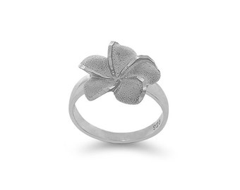 Sterling Silver plumeria ring, floral ring, flower jewelry
